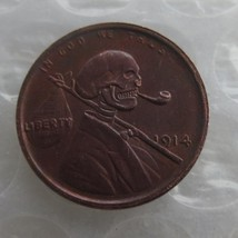Rare 1914 Lincoln Penny facing skull skeleton zombie Hand Carved - $11.99