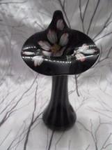 """FENTON ART GLASS SPIRAL OPTIC BLACK AMETHYST JACK IN THE PULPIT VASE 7"""" ... - $125.00"""