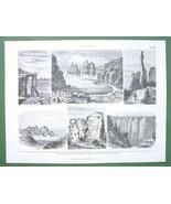 GEOLOGY  Sandstones Columns Moki Marbles USA - 1870s Original Print Engr... - $6.12
