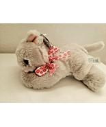 RBI Grey Kitty Cat Small Plush Stuffed Animal Lil One Pink Flower Bow - $19.78