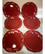 (6) BETTER HOMES--RED GARNET--SALAD PLATES----FREE SHIP--NEW - $42.47