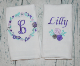 Personalized Baby Girl Flower Burp Cloths set of 2 in Purple Floral - $18.00