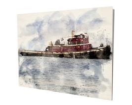 Old Boat Tug Nautical Ocean Ship Water Color Design 16x20 Aluminum Wall Art - $59.35