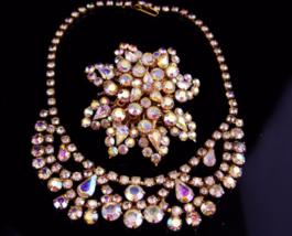Vintage Rhinestone Necklace / Aurora borealis brooch / demi parure set / tiered  - $295.00