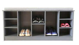 New Wooden Shoe Cubicle Storage Entryway Bench with Soft Cushion for Sea... - $155.00