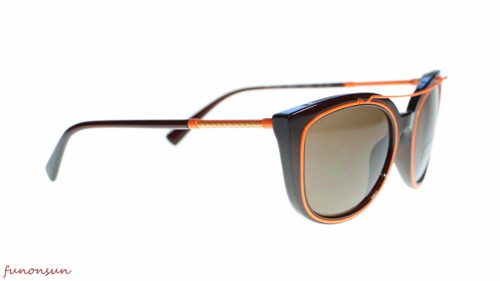 Versace Cat Eye Women's Sunglasses VE4336 509373 Transparent Brown Lens 56mm