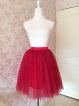 DARK RED Knee Length Elastic Waist A Line Tulle Skirt Bridesmaid Tulle Skirt NWT image 6