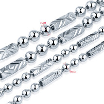 V.YA 100% 925 Sterling Silver Ingot Chain Necklaces for Women Men 7MM Be... - $21.78