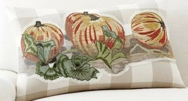 NEW Pottery Barn Pumpkin Patch Plaid  Embroidered Pillow Cover Sham Lumb... - $45.54