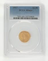 1927G $2.50 Dorado Indios Rótula Cuarto Águila Graduado según Moneda As Ms64 + - $1,070.15