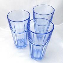 Libbey Aqua Blue Tumblers 8 Panel Vintage Heavy Glasses ~ Set of 3 - $21.95