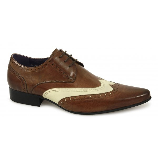Handmade mens brogue brown and white leather shoes, Mens formal leather shoes