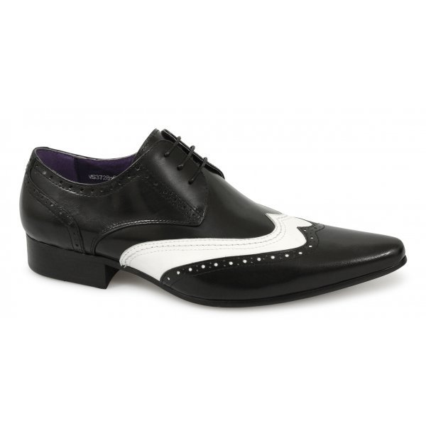 Handmade mens brogue Black and white leather shoes, Mens formal leather shoes