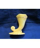 "Vintage Cornucopia 4.5"" Vase Planter 1952 Yellow Gold Trim Accents Signed - $7.44"