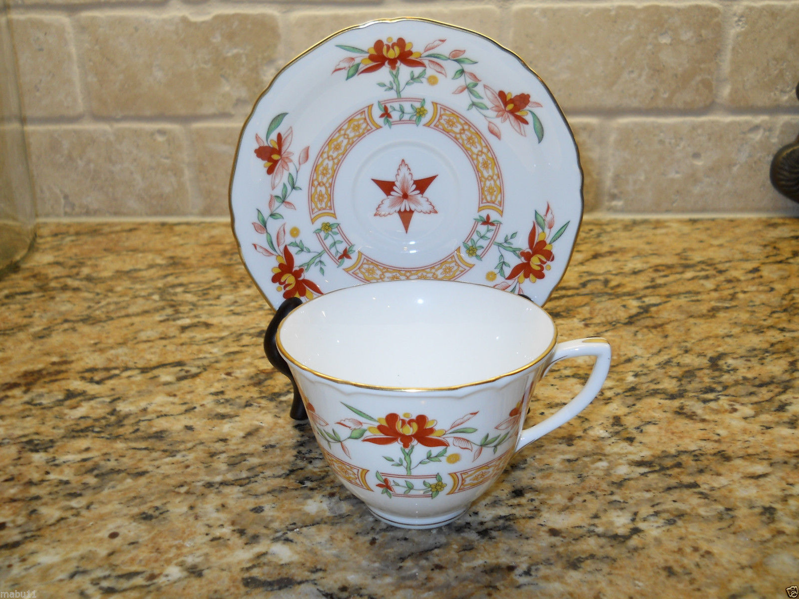 Royal Worcester Chamberlain Orange Cup and Saucer  England
