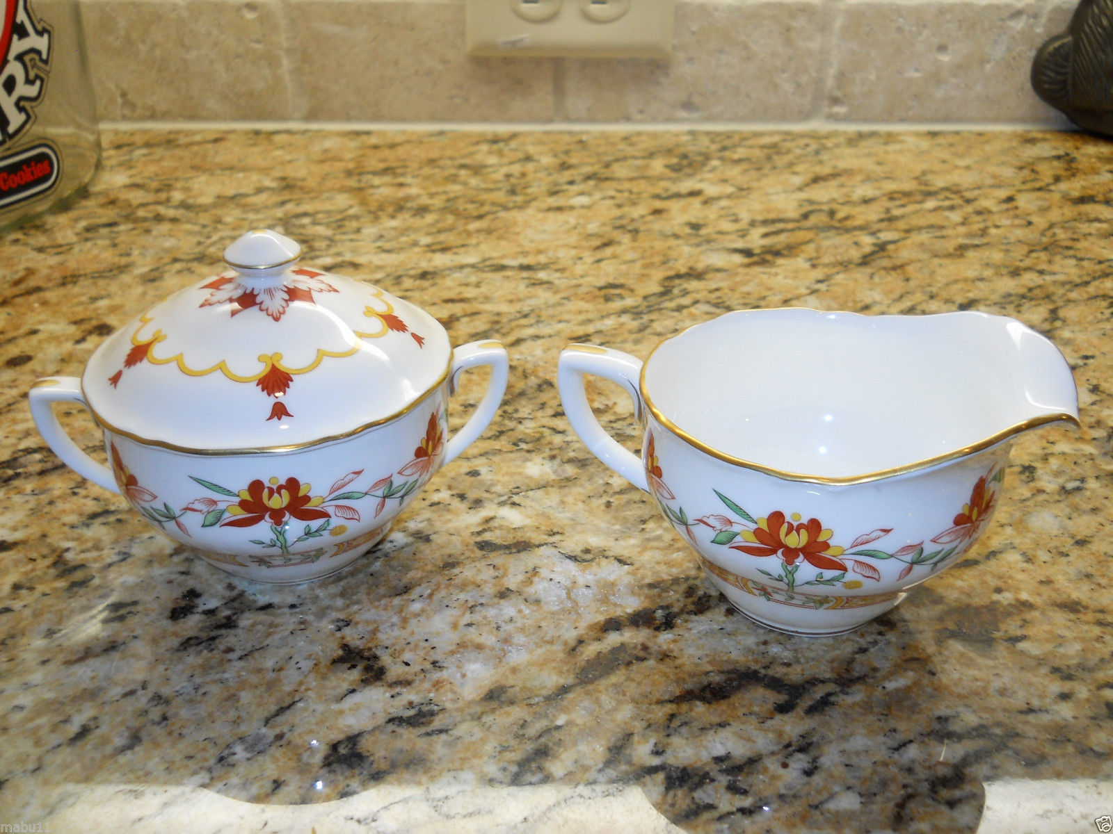 Royal Worcester Chamberlain Orange Sugar Bowl and Creamer set
