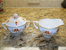 Royal Worcester Chamberlain Orange Sugar Bowl and Creamer set - $79.15