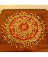 Orange and Yellow Sunburst Table Topper Crochet Art Decor - RSS Designs ... - $32.00