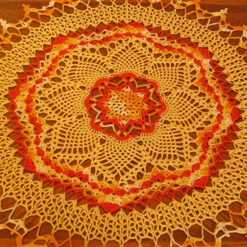 Orange and Yellow Sunburst Table Topper Crochet Art Decor - RSS Designs In Fiber
