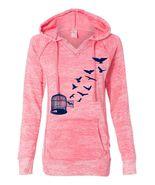 Women's Deep Coral Hoodie Sweatshirt Birds  - $34.99+