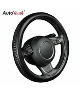 AutoYouth® PU Leather Steering Wheel Cover Black Lychee Pattern With Ant... - $23.92