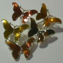 Vintage Signed LR Brooch Enamel Butterflies Fall Colors - $14.84