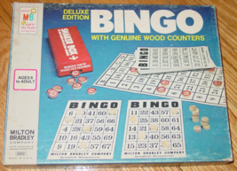 BINGO DELUXE EDITION GAME GENUINE WOOD COUNTERS VINTAGE KEY TO FUN LOGO ... - $20.00