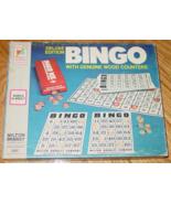 BINGO DELUXE EDITION GAME GENUINE WOOD COUNTERS VINTAGE KEY TO FUN LOGO ... - $20.00