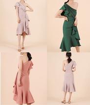 Women Blush Pink Off Shoulder Midi Dress Slit Chiffon Wedding Dress,blush pink image 9