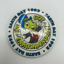 "Disney Pinback Button Cast Earth Day 1992 Got Environmentality Jiminy Cricket 3"" - $12.00"