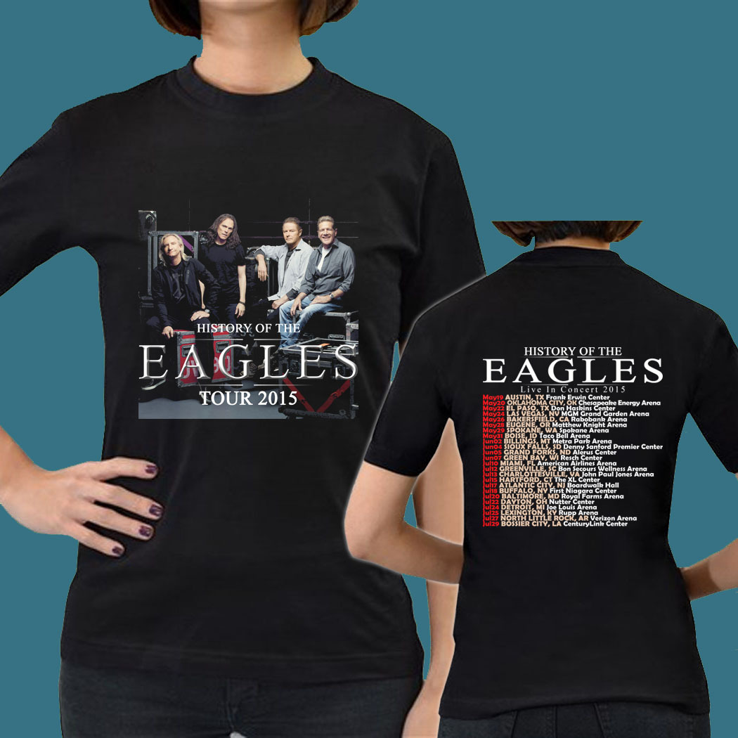 History of the eagles band tour date 2015 gn12 womens tee for Eagles t shirt womens