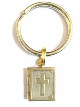 Gold Christian Bible Locket Charm Key Chain with Tiny Opening Bible Locket - $8.00