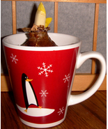 Red & White with Penguins, 11 oz Latte Cup - $9.00
