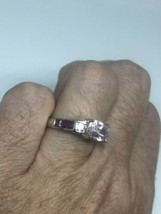 Vintage Red Tourmaline Kunzite Deco  Band Ring 925 Sterling Silver Size 11 - $133.65