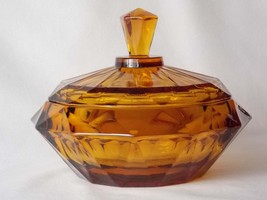 Viking Glass Diamond Point Amber Glass Covered Candy Jar #6816, Golden B... - $80.00