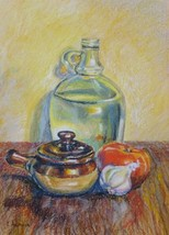 Akimova: SILL LIFE, oil pastel, food, garlic, tomato - $15.00