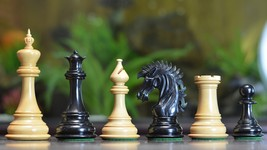 "Ruffian American Staunton Chess Pieces in Ebony / Box Wood - 4.8"" King - VJ027 - $492.99"