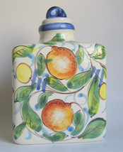 Three Cornered Lidded Ceramic Jar Handpainted - $40.09