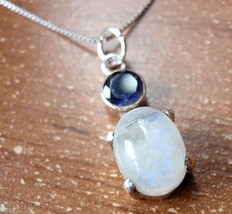 Faceted Iolite 4-Pronged Rainbow Moonstone Necklace 925 Sterling Silver ... - $16.93