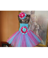 BABY GIRL TURQUOISE & HOT PINK TUTU DRESS WITH ... - $18.00