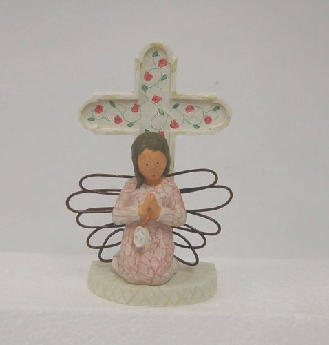 Autom Girl Wire Wing Angel White Cross Figurine Ec658