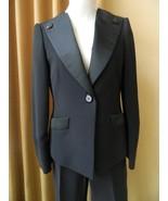 Armani Collezioni Tuxedo Pant Suit Jacket Black Silk 4 6 Great Elegant - $395.01