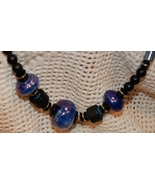 Iridescent Blue and Black Beaded Necklace - $6.00