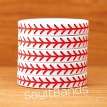 10 Baseball Theme Wristbands. Quality Debossed Color Filled Wrist Band Bracelets - $10.77