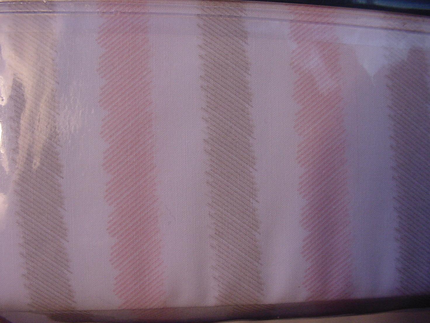 Ralph Lauren Pink and Beige fuzzy Edge Stripes on White Sheet Set Queen