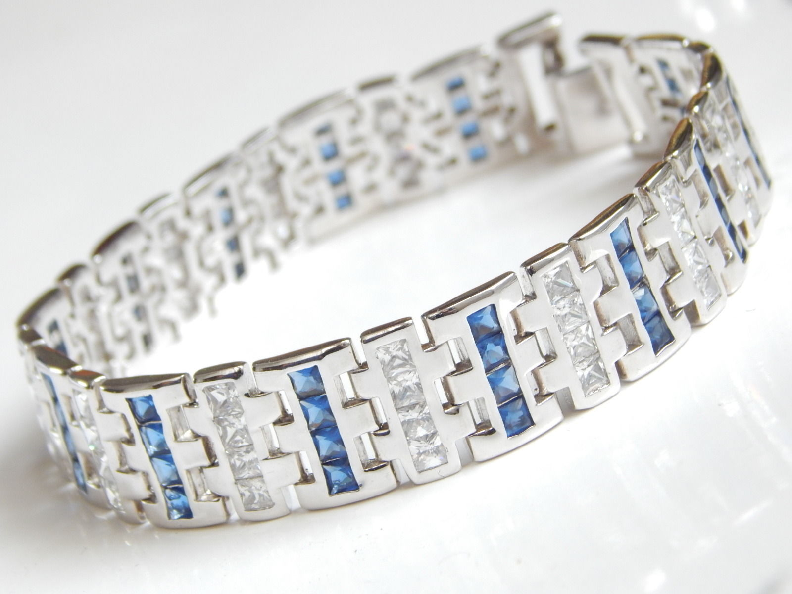 "New Men's Bracelet with Blue white CZ 9inch length 1/2"" wide"