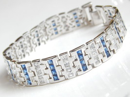 "New Men's Bracelet with Blue white CZ 9inch length 1/2"" wide image 1"