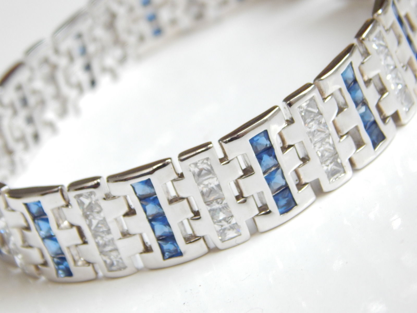 "New Men's Bracelet with Blue white CZ 9inch length 1/2"" wide image 2"