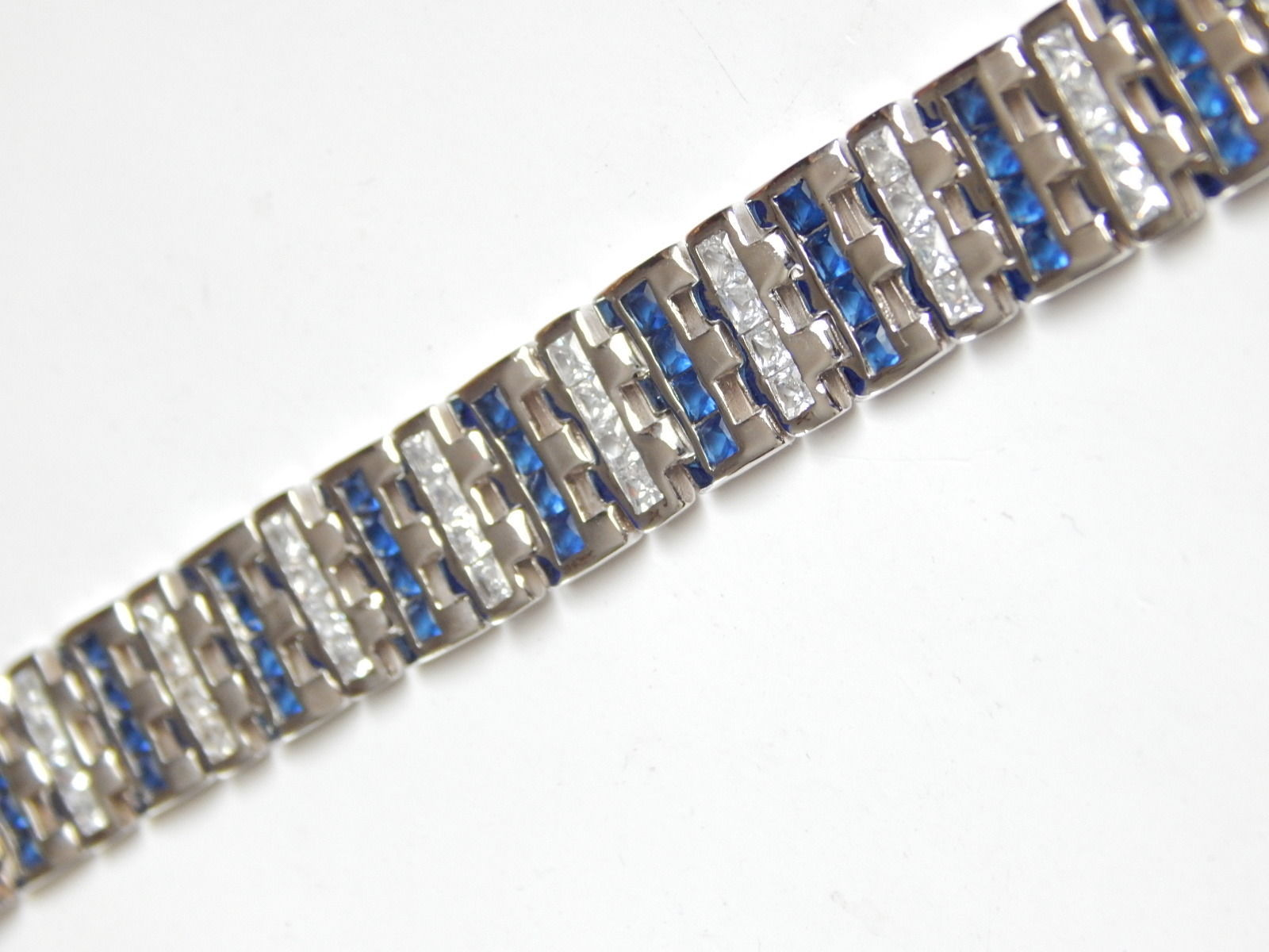 "New Men's Bracelet with Blue white CZ 9inch length 1/2"" wide image 5"