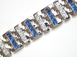 "New Men's Bracelet with Blue white CZ 9inch length 1/2"" wide image 6"